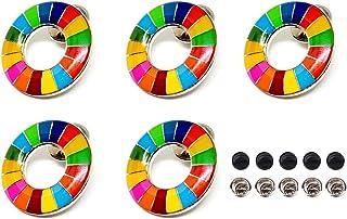 5個セット SDGs バッジ ピンバッジ 国連本部最新仕様 シルバー 表面に丸みのあるタイプ