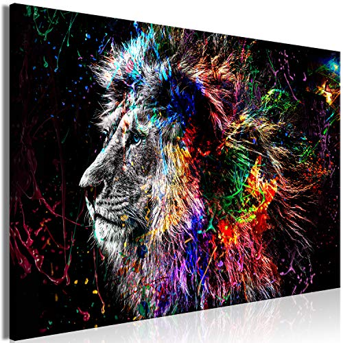 murando - Bilder Tiere 120x80 cm Vlies Leinwandbild 1 TLG Kunstdruck modern Wandbilder XXL Wanddekoration Design Wand Bild - Löwe bunt Gesicht Abstrakt g-C-0269-b-a