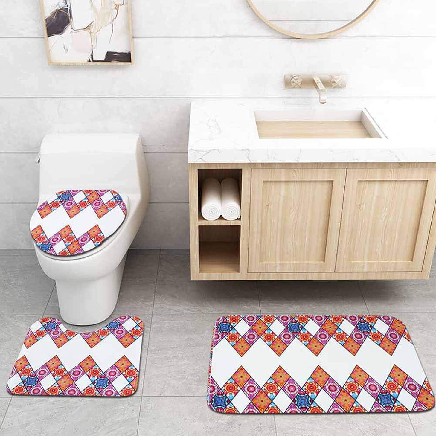 ティッシュどのくらいの頻度で透過性ダイヤモンドパターン4ピースシャワーカーテンカーペットセット、シャワーカーテンマット、浴室のカーペット、装飾領域のカーペット、あなたの浴室をより鮮やかに,A