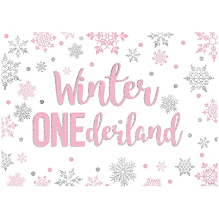 New 7x5ft Penguin Girl One 1st Birthday Photography Background Prop Winter Onederland Pink and Teal Snowflake Backdrops Rustic Wood Baby Girl First Birthday Decoration Photo Banner for Cake Table