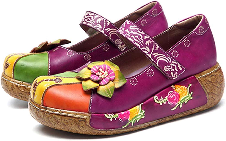 Retro Genuine Leather Mary Jane shoes Women Flats New Vintage Bohemian Handmade Flower Hook Loop Flat Heel Ladies shoes