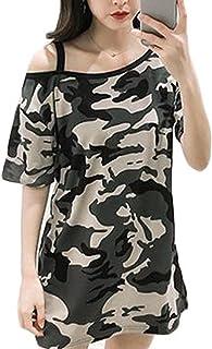 ZhongJue(ジュージェン) レディース 半袖 tシャツ オフショルダー ゆったり 夏服 迷彩柄 ファッション おしゃれ トップス 夏物 カモフラTシャツ