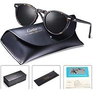 Carfia Vintage Polarized Sunglasses for Men, 100% UV400 Protection Acetate Frame