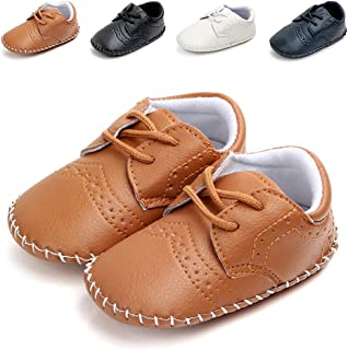 Methee Infant Baby Boys Girls Walking Shoes, Soft Sole Non-Slip First Walker Shoes Newborn Crib Shoes, Perfect for Baptism...