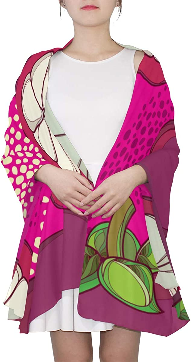 Summer Tropical Fruit Mangosteens Unique Fashion Scarf For Women Lightweight Fashion Fall Winter Print Scarves Shawl Wraps Gifts For Early Spring