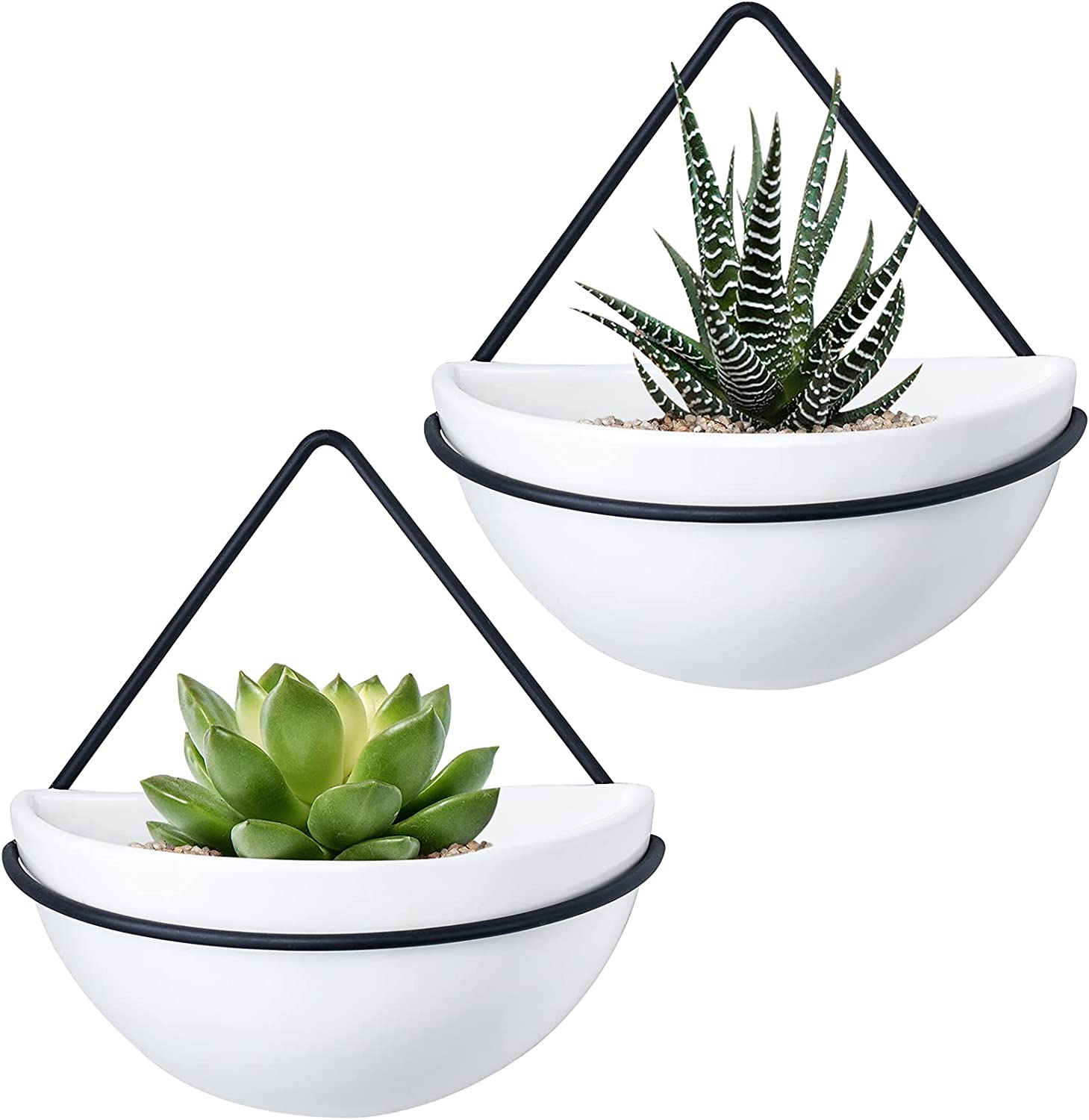 Mkono Ceramic Wall Planter Set of NEW before selling 2 Industry No. 1 Hanging Metal with G