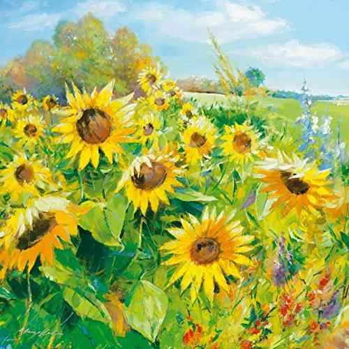 Artland Qualitätsbilder I Kunstdruck Wandbild Gemälde Bild Kunst - Größe 69 x 69 cm - Blumenwiese Sonnenblume Gelb A1QU