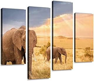 African elephants in sunset light Canvas Print Artwork Wall Art Pictures Framed Digital Print Abstract Painting Room Home ...