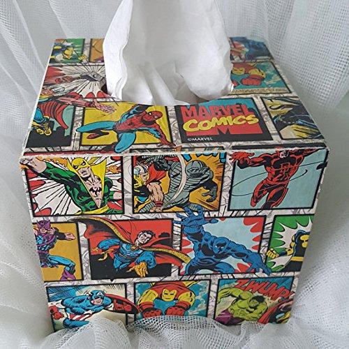 Madera caja de pañuelos Holder dispensador, cuadrado caja, regalo de cumpleaños para Boy/hombres, estudiantes, niños habitación decoración, Marvel, Comics Hero nueva, niños habitación decoración, regalo de cumpleaños: Amazon.es: Hogar