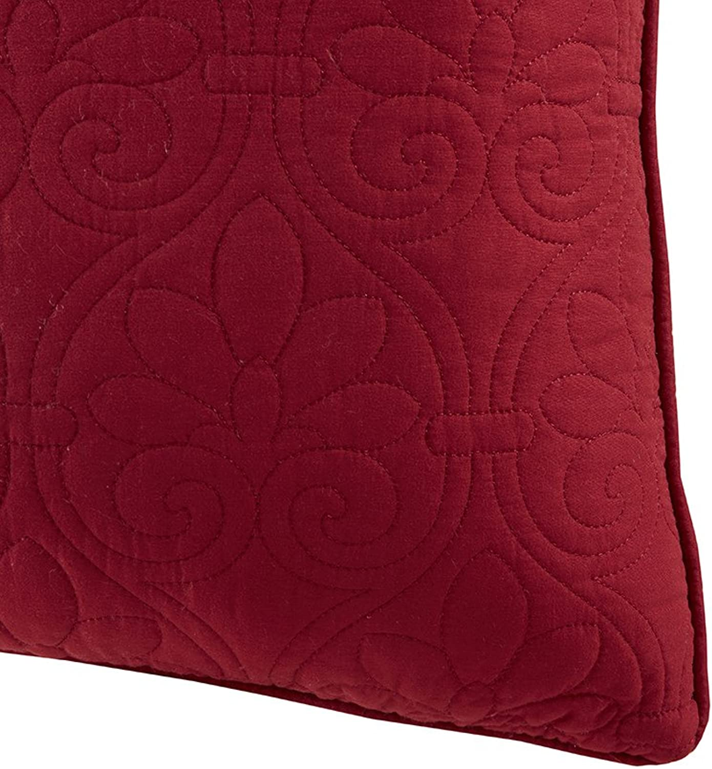 Madison Park II02-2251 Quebec Quilted Square Pillow Pair Red 20x20