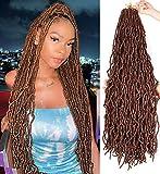 ZRQ 36 Inch New Faux Locs Crochet Braids Hair Light Brown Extended Locs 21...