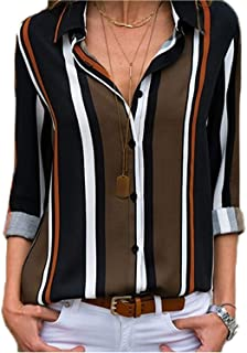 Women V Neck Striped Roll up Sleeve Button Down Blouses Tops