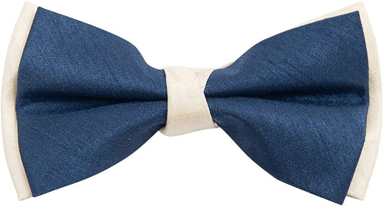 Dobell Mens Navy & Gold 2-Tone Bow Tie Pre-Tied