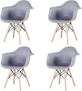 Uderkiny Conjunto de 2/4 sillas de Comedor con reposabrazos, Adecuado para Cocina Sala de Estar Comedor Dormitorio (Gris-4)