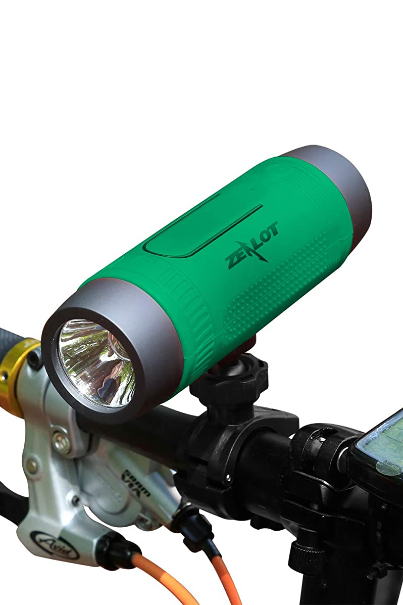 ZEALOT Bluetooth Bicycle Speaker S1 4000mAh Portable Bike Speakers Rechargeable Power Bank Slpashproof Bicycle Headlight LED Flashlight Outdoor Indoor competible for iPhone, Android (Green)