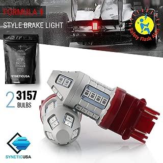 Red Flashing Strobe Blinking Rear Alert Safety Brake Tail Stop High Power LED Light Bulbs (3157)