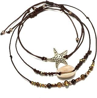 ATIMIGO Boho Beach Layered Rope Anklet Bracelet Handmade...