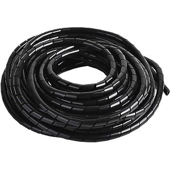 Nero Guaina spiralata per mettere in ordine cavi PC Copricavo Spirale a Lungezza 6M e 10M Tubo a Spirale Diametro 4 MM e 6 MM TV ecco AGPTEK Raccogli Cavi /è Progetto per Raccogliere i Cavi