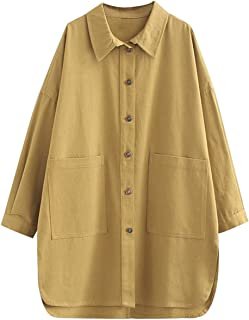 Duberess Women 100% Cotton Trench Coat Casual Loose Plus Size Jacket Oversized Blouse