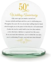 Dicksons 50th Wedding Anniversary Yellow 6 x 6.5 Glass Table Top Sign Plaque