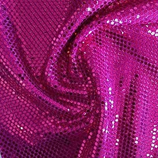 Faux Sequin Knit Fabric Shiny Dot Confetti for Sewing Costumes Apparel Crafts by the Yard (1 YARD, Fuchsia)