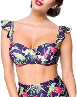 QIUMINGSS Damen Bikini Oberteil Summer Triangle Bikinioberteil Neckholder Einfarbig Push up Bandeau Underwired Top Bikinioberteil