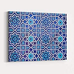 Rosenberry Rooms Canvas Wall Art Prints - Traditional Uzbek Pattern On The Ceramic Tile On The Wall of The Mosque,