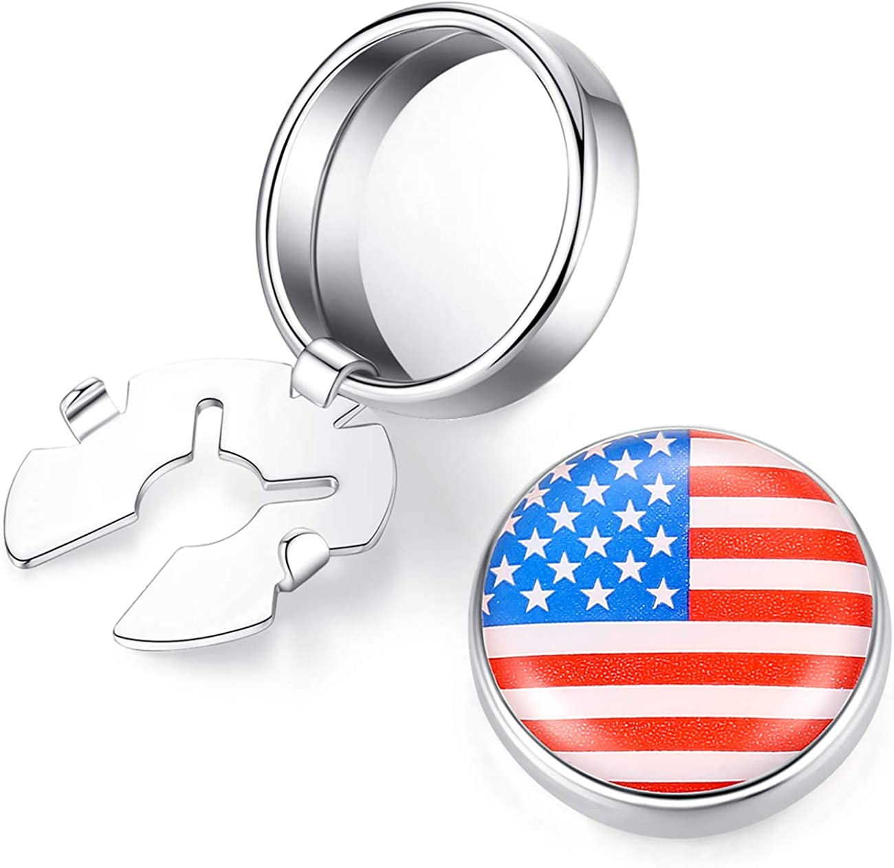 HONEY BEAR US American Flag Button Lowest price challenge Cufflinks Mens Covers Manufacturer OFFicial shop Ord for