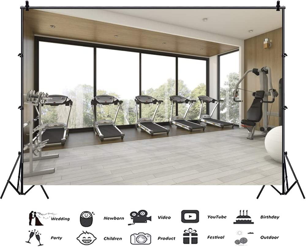 CSFOTO 10x6.5ft Interior Decoration Backdrop Gym Decoration Background for Photography Fitness Room Decor Backdrop Take Exercise Running Machine Gym Equipment Adults Kids Portraits Studio Props