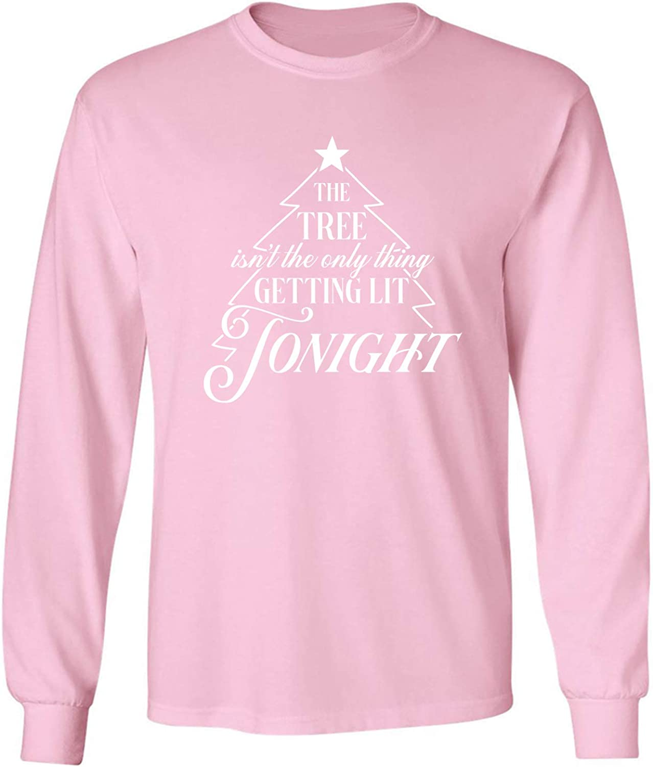 The Tree.Getting Lit Tonight Adult Long Sleeve T-Shirt in Pink - XXXXX-Large