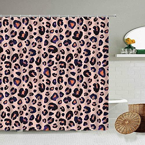 Afrikanischer Stil Leopard Muster Duschvorhang Wild Animal Print Badezimmer Badewanne Dekoration Geschenk wasserdichte Vorhänge Bildschirm-9_180x180cm