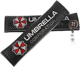 Clavel Autopartes 2pcs Car Seat Belts Covers Padding Carbon Fiber Leather Belt Shoulder Sleeve + 1pc Retractable Badge Reel with Metal Belt Clip (Umbrella Corporation)