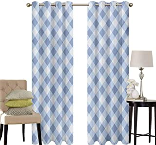 hengshu Geometric Sliding Door Curtains for Living Room Diamond Rhombus Pattern Checkered Grid Style Mosaic Composition Room Darkening Curtains Room Decor W42 x L63 Inch Slate Blue and Baby Blue