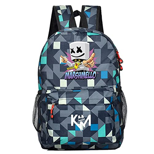 YOURNELO Boys Canvas DJ Marshmello Alan Walker Rucksack School Backpack Bookbag (A Grid Blue)