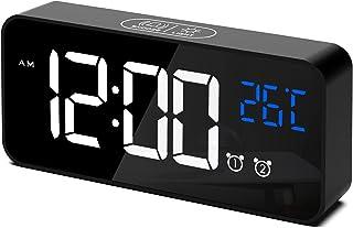 CHEREEKI Réveil Numérique, Horloge Numérique LED Horloge Digitale Réveil Aver Température/Snooze/ 2 Alarme/12/24 Heures/Po...
