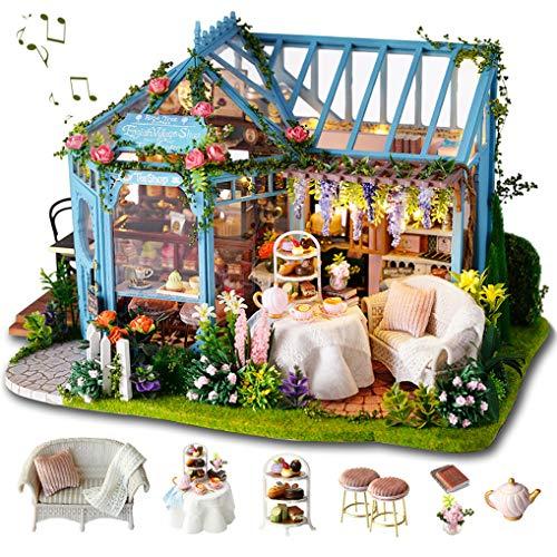 GuDoQi Miniatura de la Casa de Muñecas con Música, Tienda de Jardín de té Hecha a Mano con Muebles, Kit Modelo Artesanal DIY para Mujeres y Coleccionistas para Construir