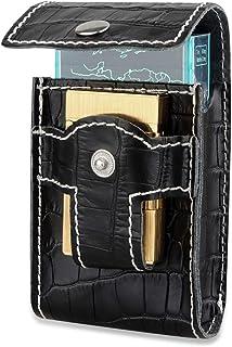 LCZ Portefeuille étui à Cigarettes en Cuir avec Boucle de Ceinture Cigarette Portable Box avec Porte-Briquet Carte électro...