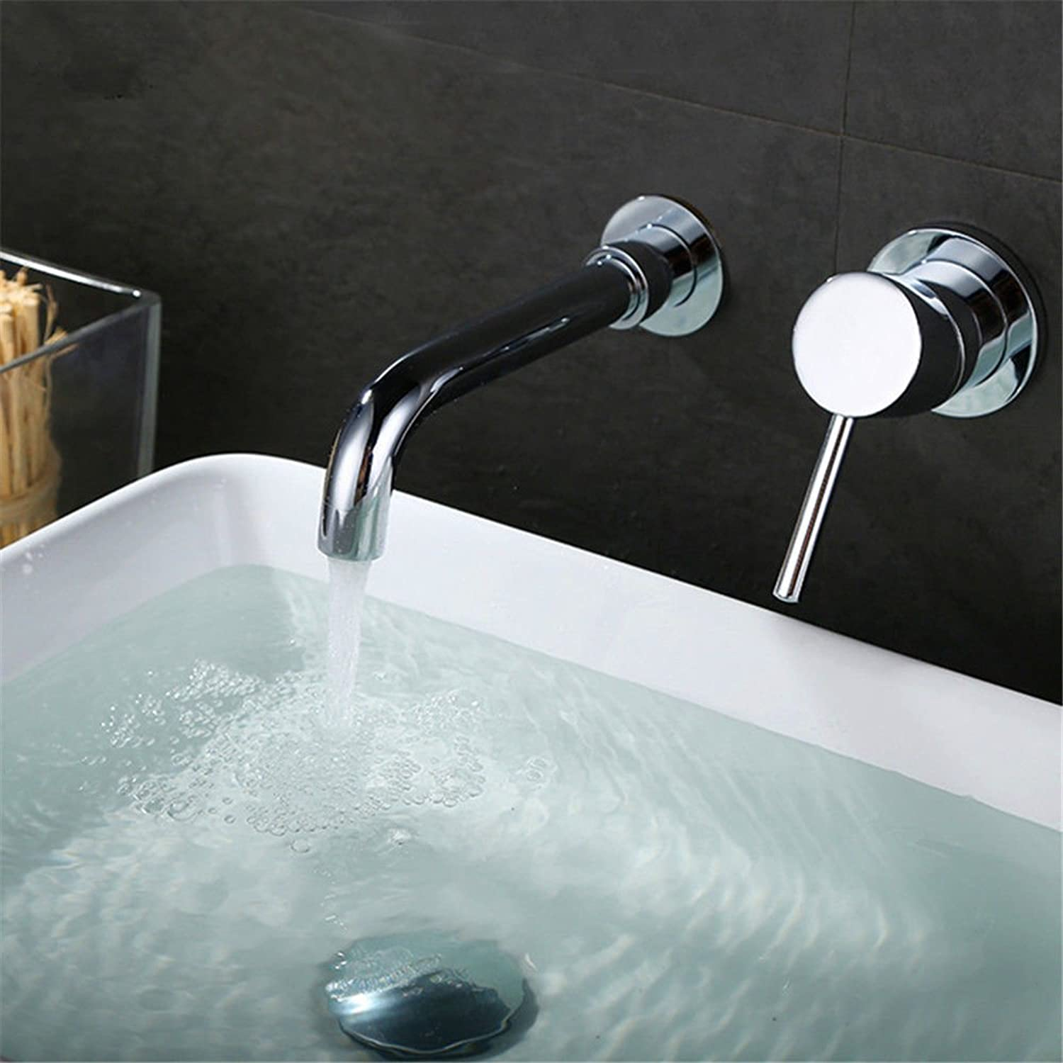 Lpophy Bathroom Sink Mixer Taps Faucet Bath Waterfall Cold and Hot Water Tap for Washroom Bathroom and Kitchen Modern Copper Chrome Round Water Out of The Dark Wall Into A Single Hot and Cold