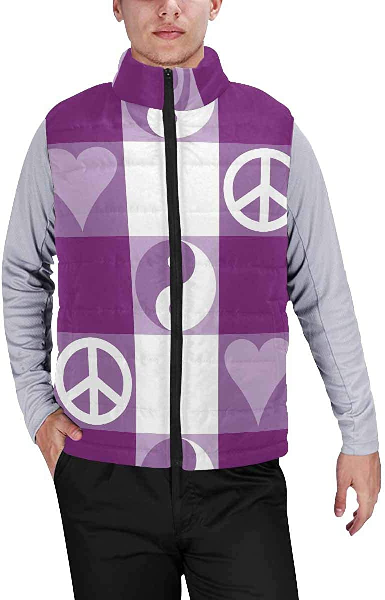 InterestPrint Winter Outwear Casual Padded Vest Coats for Men Paw Print