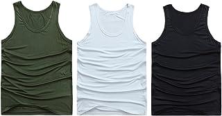Zhuhaitf メンズタンクトップ Men's Elastic Work Running Soccer Marching Sport Body Shaper Vest Lose Weight Shirt [3 Pack White]