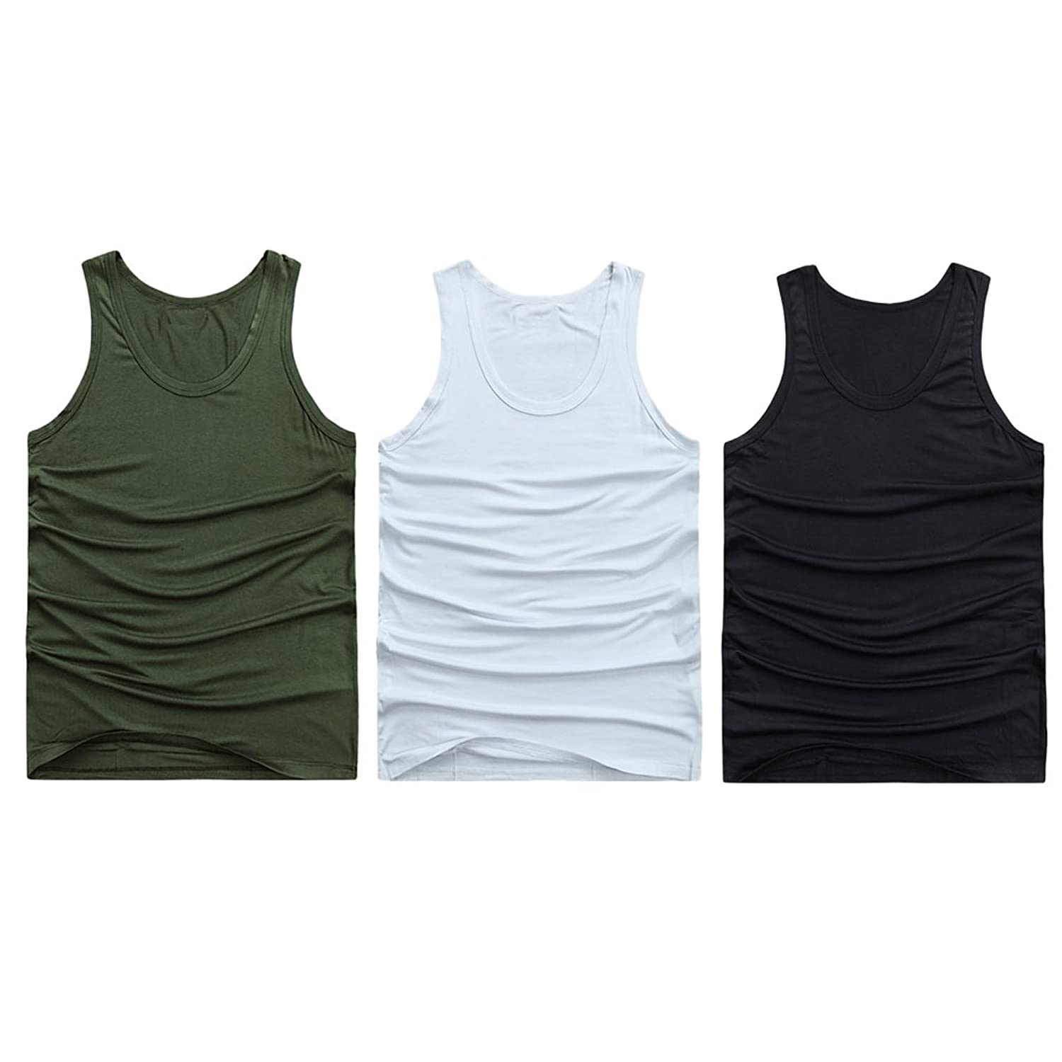 Zhuhaitf メンズタンクトップ Men's Elastic Work Running Soccer Marching Sport Body Shaper Vest Lose Weight Shirt [3 Pack White]