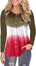 Holzkary Women's Autumn Pure Color/Gradient Pleated Pullover Casual Fake Button Long Sleeve O-Neck Tops Sweatshirt