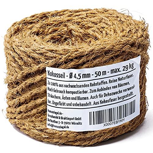 Humusziegel Cordel de Fibra Natural de Coco. Color marrón Natural. Ideal para jardín. 100% Fibra Natural. Longitud: 50m, diámetro: 4,5 mm
