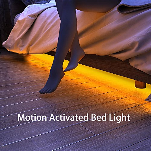 Samoleus Strisce LED Sensore Movimento Blanco Cálido, 1.2M 36 LEDS Sensore di Movimento Striscia LED Letto Luce Notturna, Tempo Regolabile, Luminosità e Lunghezza (2 Striscia LED)