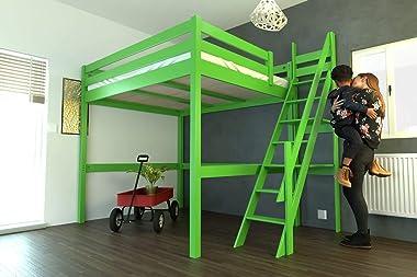 ABC MEUBLES - Lit Mezzanine Sylvia avec escalier de meunier Bois - 1130 - Vert, 160x200