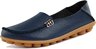 ALLY UNION MAKE FORCE Women's Leather Loafers Casual Slip-on Moccasins Comfort Driving Flats Shoes