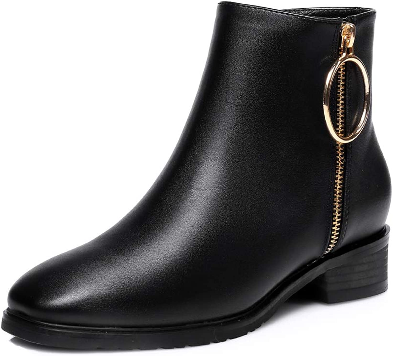Believed Women PU Leather Flat Short Boots Female Vintage Martin Ankle Boots Women