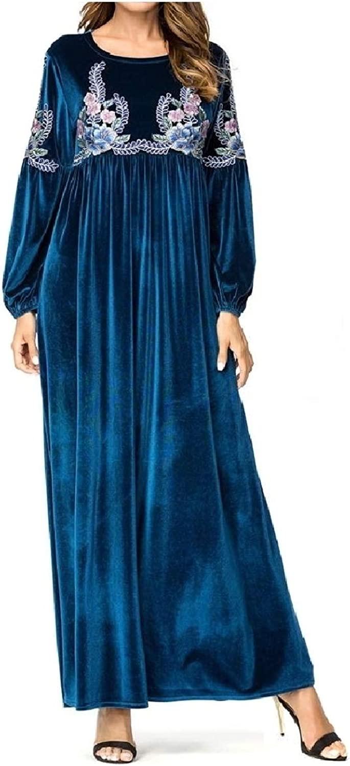 Winme Womens Skinny Embroidery Muslim High Waist Cocktail Party Dress