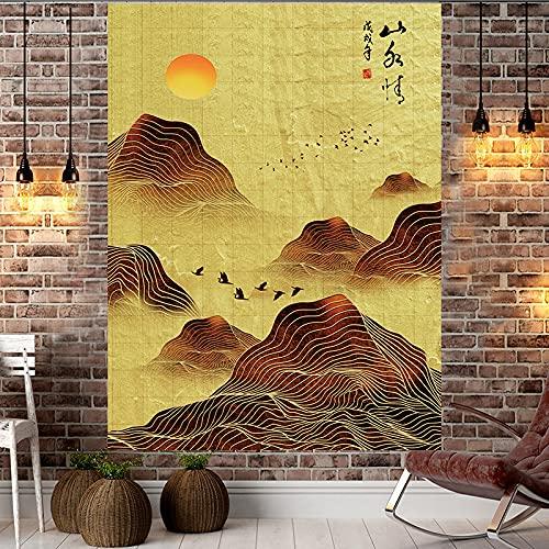 NHhuai Patrón Tapiz de Pared Tapices Colgante de Pared Decoraciones para el hogar para Sala de Estar Colgante de Pared decoración Tela Puesta de Sol colinas