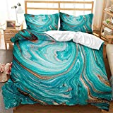 Blue Abstract Pattern Bedding Duvet Cover 3 Pieces Soft Microfiber Bedding Set with Zipper Closure Decorative 3D Print Duvet Cover 79 x 79 Inch(200 x 200cm) and Pillowcase